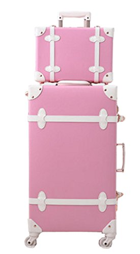 Girls Environmental PP and PU Leather Spinner Aluminium Frame Password Sweet Vintage Suitcase Set - 20 Inch Pink Set by Urecity