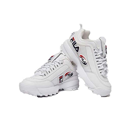 Fila Womens Disruptor II Patches Leather Synthetic White Trainers 8.5 US