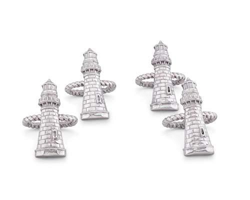 Arthur Court Aluminum Lighthouse Napkin Rings; Coastal Sea Ocean Collection Set of 4 Artisan Crafted Designer Rings