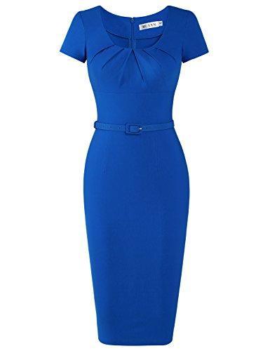 eetheart Neck Bodycon Bridesmaid Gown Mini Dress (Color Blue XL) ()