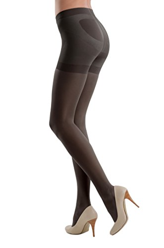 Conte elegant America Top Quality Pantyhose Control Top with 7 Shaping Belts X-PRESS 20 den,Nero,Small by Conte elegant