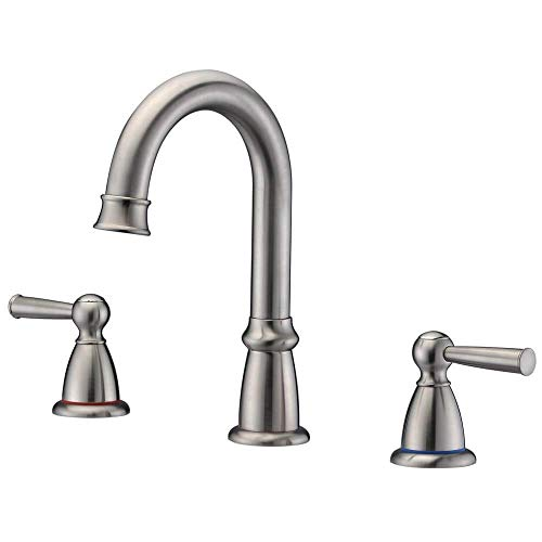 Crea 3 Hole Widespread Bathroom Faucet in Brushed Nickel 2 Handle Lavatory Basin Faucet (Widespread Brush)