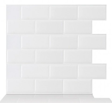 Tic Tac Tiles 10-Sheet 12'' x 12'' Peel and Stick Self Adhesive Removable Stick On Kitchen Backsplash Bathroom 3D Wall Sticker Wallpaper Tiles in Subway White by Tic Tac Tiles