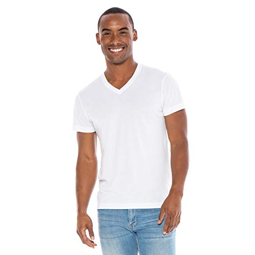 Men's Designer T-Shirt Lightweight Semi Fit Short Sleeve V-Neck Organic Cotton Pre-Shrunk Embroidered - Made in USA (Medium, White)