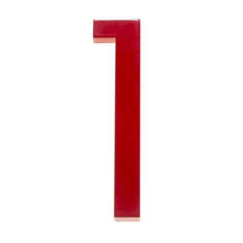 Modern House Number Red Color Aluminum Modern Font (Number 1) by Moderndwellnumbers.com (Image #9)