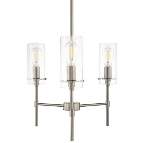 Effimero 3 Light Pendant Chandelier - Brushed Nickel w/ Clear Cylinders - Linea di Liara ()