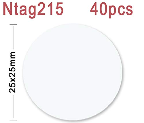 Ntag215 NFC Tags,Amiibo stickers,Omicastle Blank PVC Coin Cards Compatible with Tagmo(40Pcs)