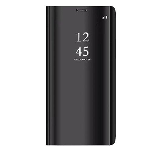 """Price comparison product image Case Compatible with Redmi 5 Slim Mirror View Flip Soft TPU Hard PC Shockproof Kickstand Cover for Xiaomi Redmi 5 (Xiaomi Redmi 5 (5.7""""), Black)"""