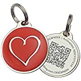Red Heart Zinc Alloy QR Code Pet ID Tag w/ Smartphone/Web GPS Location Enabled