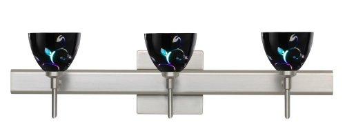 Besa Lighting 3SW-1858VB-SN-SQ Satin Nickel Finish Bath Vanity with Black Dicro Vine Glass (Dicro Black Sn Vine)