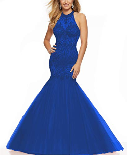 (DD Bridal Sexy Halter Beaded Bodice Mermaid Prom Dress 2019 Criss-Cross Open Back Formal Gown Royal Blue US16W)