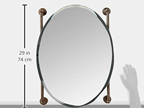 Allied Brass DT-27-91-ABR Dottingham Collection Oval Frameless Rail Mounted Mirror Antique Brass