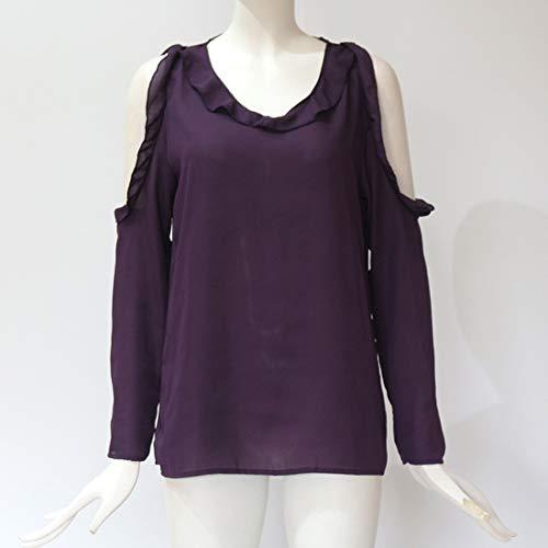 Printemps Tops Chemisier Tees et Shirts Hauts Violet T Automne Casual Blouse Longues Nu Epaule Femmes Unie Shirts Couleur Manches Gavemenget Awdx0qv4nd