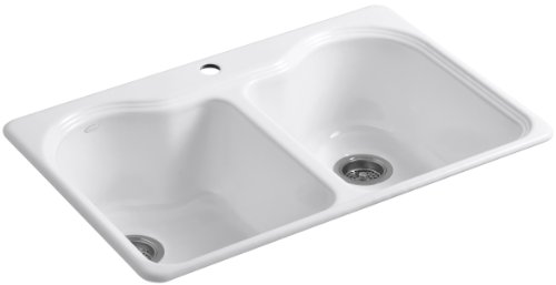 KOHLER K-5818-1-0 Hartland Self-Rimming Kitchen Sink with Single-Hole Faucet Drilling, White (Rimming Self Double Bowl Kohler)