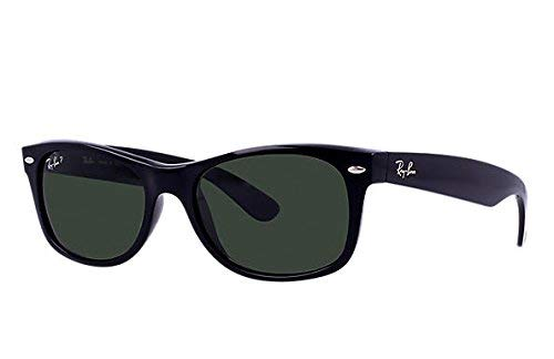 Ray-Ban RB2132 New Wayfarer Polarized Sunglasses Black/Crystal Green (901/58) RB 2132 ()