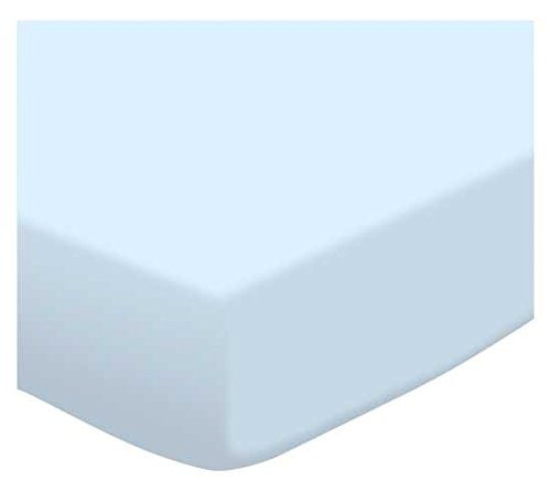 SheetWorld Fitted Square Playard Sheet 37.5 x 37.5 (Fits Joovy) - Organic Baby Blue Jersey Knit - Made In USA