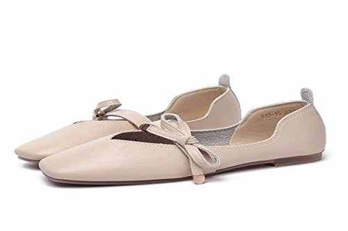Treinta Zapatos De Cuero Fondo El De Mujer Albaricoque De Ocho Suela Color Pretty Arco Zapatos KPHY Cabeza Y Cuadrada de Plana Zapatos Suave Piso Verano poca De TqSn1ZIw