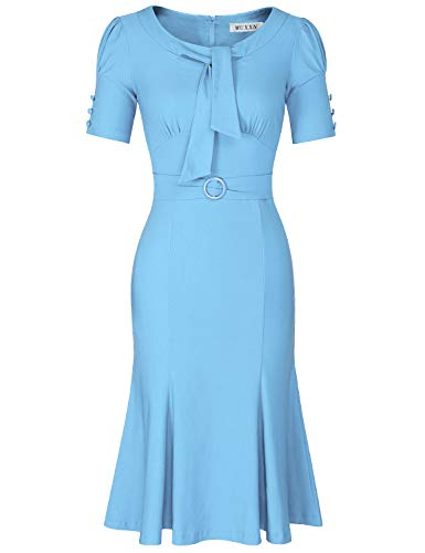 (MUXXN Lady Elegant Ruched Tie Collar Fitted Slim Vintage Office Business Pencil Dress (Airy Blue XXL))