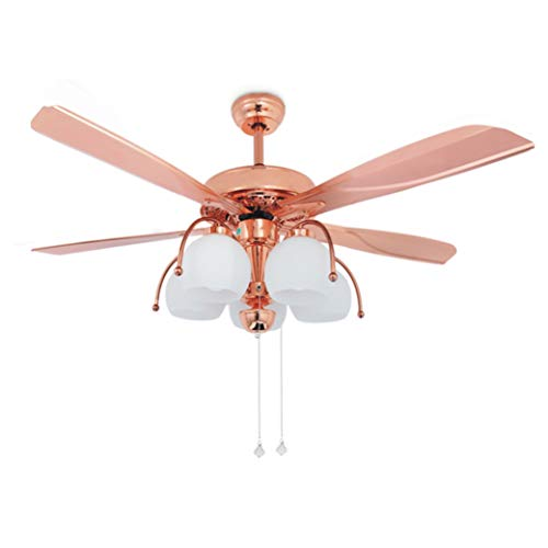 Tropicalfan 48 Inch Metal Ceiling Fan With 5 Glass Light Cover 5 Reversible Blades Home Decoration Living Room Bedroom Quiet Fans Chandelier Rose Gold