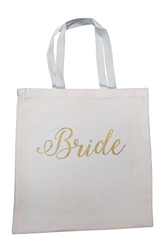 The Spoiled Office Wedding Party Bridal Tote Bag with Gold Lettering - Heavyweight, Large Canvas 15'' x 16'' (Bride in White) by The Spoiled Office