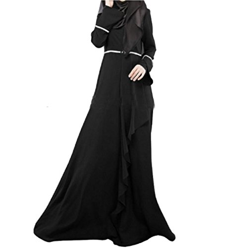 Line A Dress Black Solid Irregular Muslim Beach Flouncing Maxi Women Coolred 10a8P