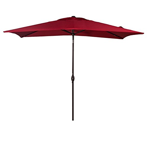 Abba Patio 6.6 by 9.8 Ft Market Outdoor Table Umbrella with Push Button Tilt and Crank, Red (Red Patio Umbrellas)