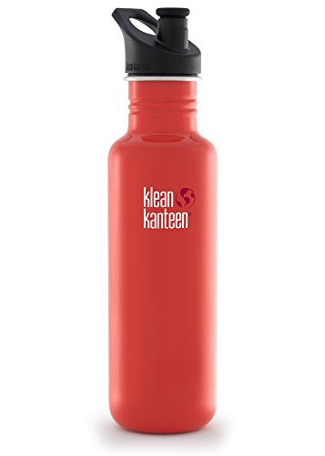 Klean Kanteen Classic Stainless Steel Bottle with Sport Cap, Flame Orange - 27oz