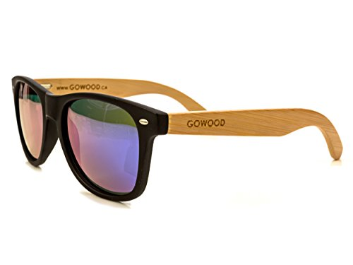 Wood Wayfarer Sunglasses Bamboo For Men & Women with Polarized Blue Mirrored - Sunglasses Wood Recycled