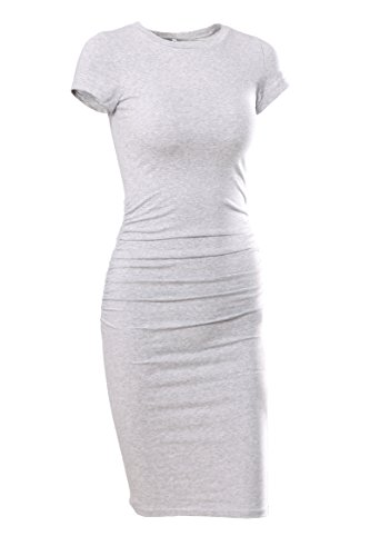 Missufe Women's Ruched Casual Sundress Midi Bodycon Sheath Dress (Gray, Small)