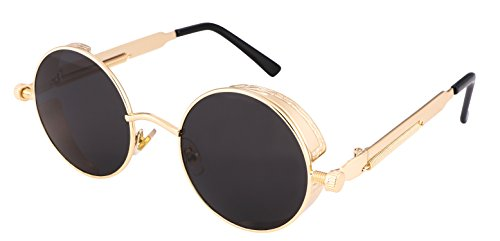 FEISEDY Retro Gothic SteamPunk Sunglasses Round Metal Frame Flat or Mirrored Lens Men Women - Retro Punk