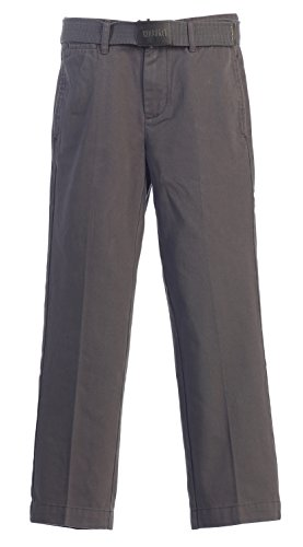 Boys Dress Twill Pant (Gioberti Boys Belted Flat Front Twill Pants, Charcoal,)