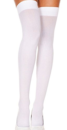 Foot Traffic Opaque Thigh High Stockings, Cute, Quirky & Comfortable, White (One Size Fits Most) - coolthings.us