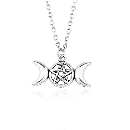 - Triple Moon Goddess Wicca Pentagram Pentacle Star Magic Amulet Talisman Drop Earrings Pendant Necklace Pagan Jewelry (Necklace)