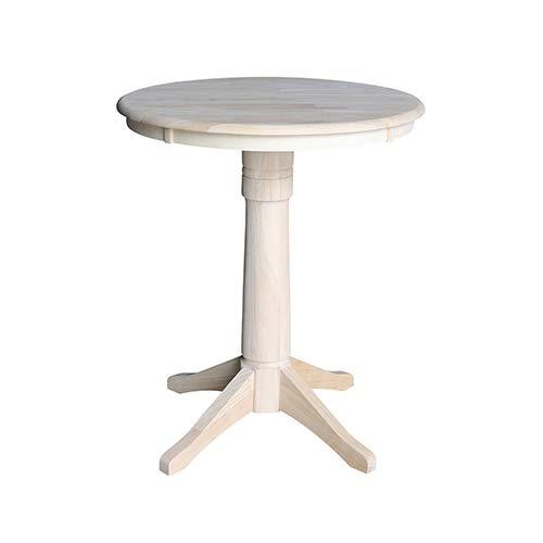 International Concepts K-30RT-27B-6B 30'' Round Top Pedestal Table-34.9'' H, Unfinished by International Concepts