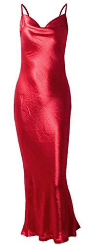 - Sleeveless Spaghetti Strap Cowl Neck Backless Satin Long Maxi Bodycon Fishtail Mermaid Dress Red L