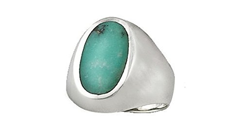 Sterling Silver Genuine Oval Turquoise Ring (Size 12) (Gallery Silver Ring Turquoise)
