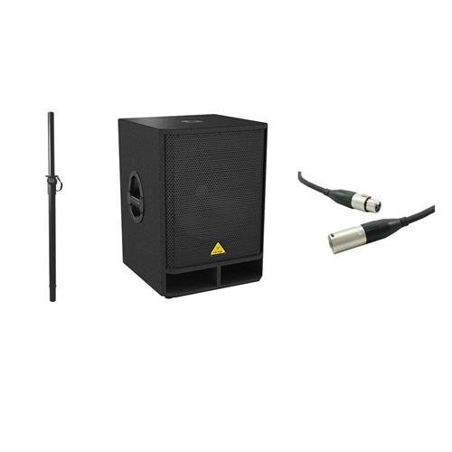 (Behringer Eurolive VQ1800D High-Performance Active 500-Watt 18in PA Subwoofer with Stereo Crossover, with Excellines 20' XLR (M) to (F) Lo-z Mic Cable, On-Stage Adjustable Subwoofer Attachment Shaft )