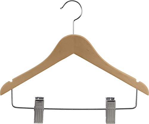 Wooden Junior Combo Hanger with Adjustable Cushion Clips, Box of 24 Flat 14 inch Hangers with Natural finish, Notches and Chrome Swivel Hook by The Great American Hanger Company ()