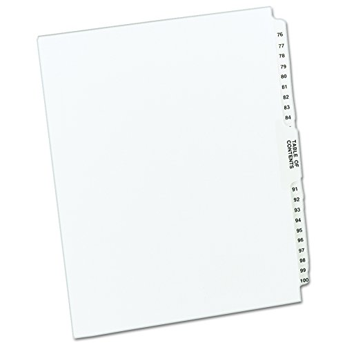 Avery Avery-Style Legal Side Tab Dividers, 26-Tab, 76-100, Letter Size, White, 25 per Set (11397) ()