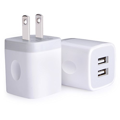 Charger Dual (USB Wall Charger, Charger Adapter, Ailkin 2-Pack 2.1Amp Dual Port Quick Charger Plug Cube for iPhone 7/6S/6S Plus/6 Plus/6/5S/5, Samsung Galaxy S7/S6/S5 Edge, LG, HTC, Huawei, Moto, Kindle and More)