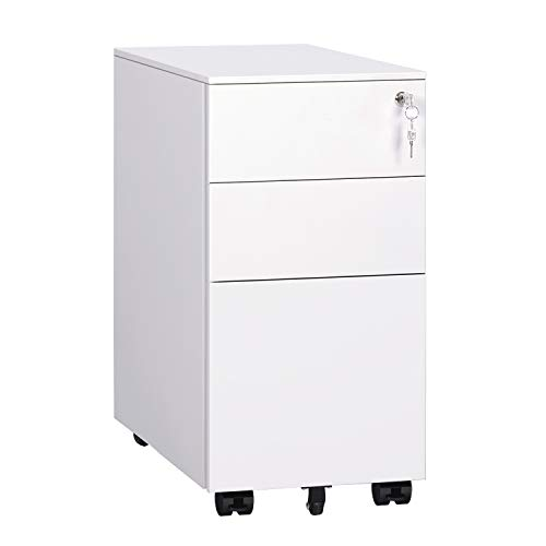 DEVAISE Locking File Cabinet, 3 Drawer Rolling Metal Filing Cabinet, Fully Assembled Except Wheels ()