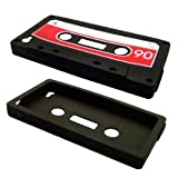 Cbus Wireless brand Black/Red Silicone Cassette Tape Case / Skin / Cover for Apple iPhone 4S / iPhone 4