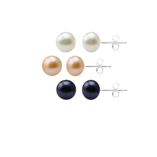 Sterling Silver Freshwater Cultured Pearl Stud Earrings 3-Piece Set in White, Dyed Peacock Black and Dyed Blush Rose (8-8.5mm)