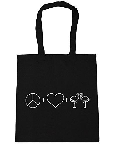 Black Flamingos Beach x38cm and Love Bag Tote Peace HippoWarehouse Gym 42cm Shopping 10 litres RtTwaxOnFq