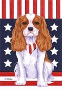 Cavalier King Charles Spaneil - by Tomoyo Pitcher, Patriotic Themed Dog Breed Flags 28 x 40