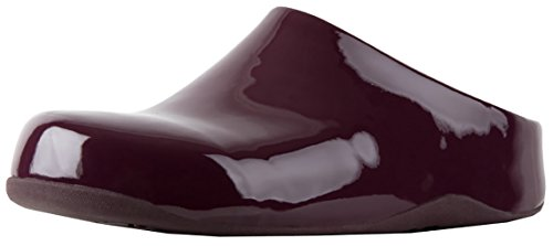 FitFlop Women's Shuv Patent Mule (9 B(M) US, Deep (Patent Leather Clogs)