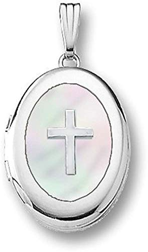 (PicturesOnGold.com 14k White Gold Oval Mother of Pearl Cross Locket - 5/8 Inch X 3/4 Inch 14K White Gold with Engraving)