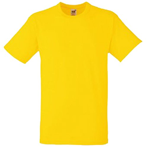 Fruit Of The Loom - Camiseta Básica gruesa de manga corta con bolsillo - 100% Algodón amarillo