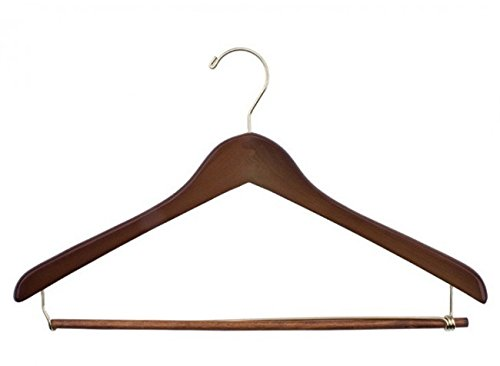 NAHANCO 70-19GH 19'' Concave Suit Hanger with Walnut Finish and Gold Hardware (Pack of 100)