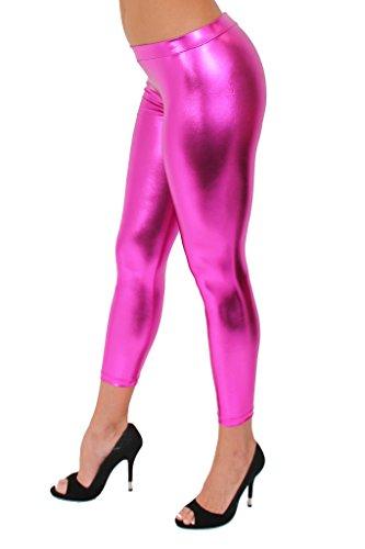 [Women's Metallic Pants Liquid Wet Sexy Hot: HOT PINK (XL)] (Biker Babe Sexy Costumes)